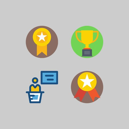 icon set about School And Education. with trophy, presentation and medal Stock Illustratie
