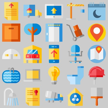 icon set about Real Assets. with text file, pond and ventilation