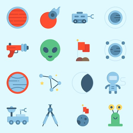 icons set about Universe. with orbit, comet, alien, moon, uran and moon rover 版權商用圖片 - 102087395