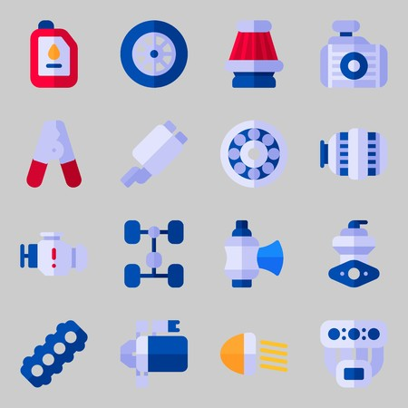 Icons set about Car Engine. with valve, starter and motor