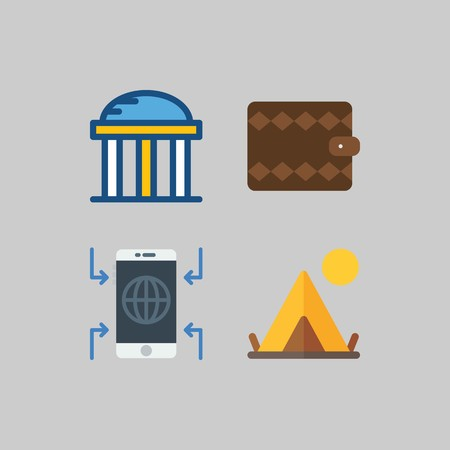 icon set about Travel. with smartphone, wallet and temple