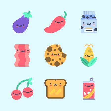 Icons about Food with cherry, toast, soda, bacon, milk and cookie