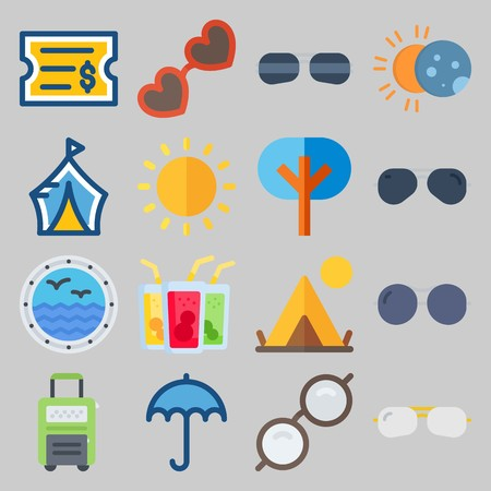 icon set about Beach And Cumping. with ticket, sun and drink Stockfoto - 102087425