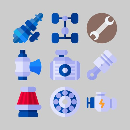 icon set about Car Engine. with distribution, engine and radiator Reklamní fotografie - 102087426