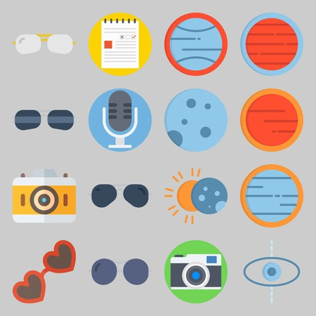 icon set about Hippies. with microphone, moon  and photo camera