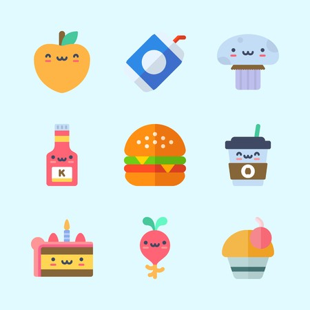 Icons about Food with mushroom, soda, cupcake, cake, hamburger and peach
