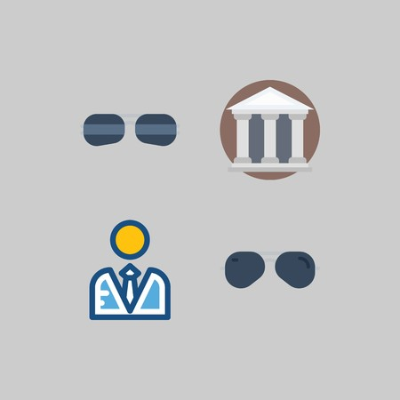 icon set about School And Education. with sunglasses, museum and user Stock Illustratie