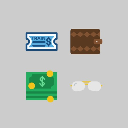 icon set about Travel. with train ticket, money and wallet Çizim