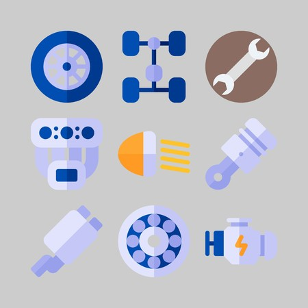 icon set about Car Engine. with exhaust, motor and manifold Illustration