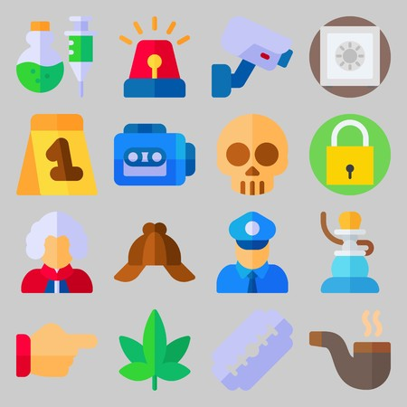 icon set about Crime Investigation. with point , padlock and marijuana Stockfoto - 102087433