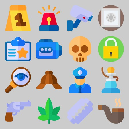 icon set about Crime Investigation. with padlock, skull and shisha Stock Illustratie