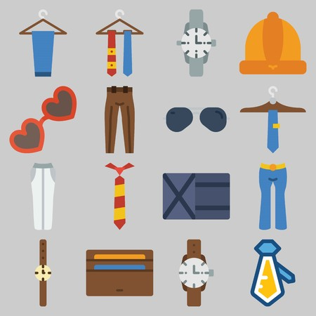 Icon set about Man Accessories with keywords sunglasses, watch, trousers, tie, wallet and winter hat 向量圖像