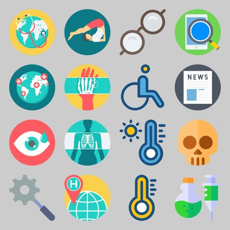 icon set about Medical. with poison, search and thermometer Stockfoto - 102087437