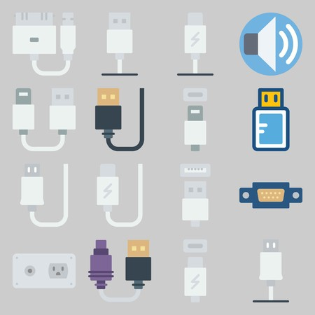 icon set about Connectors Cables. with usb cable, socket and phone usb