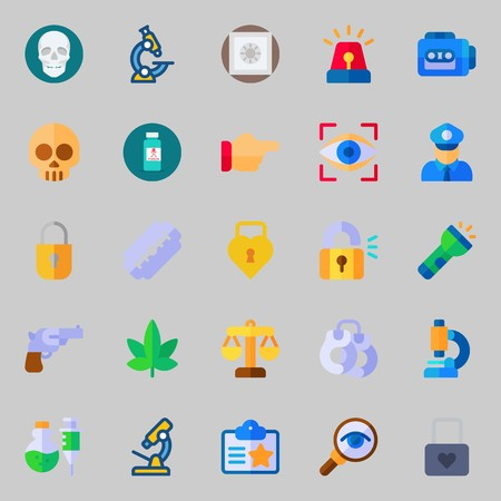 icons set about Crime Investigation. with flashlight, skull, handcruffs, revolver, safebox and eye scan 版權商用圖片 - 102087439