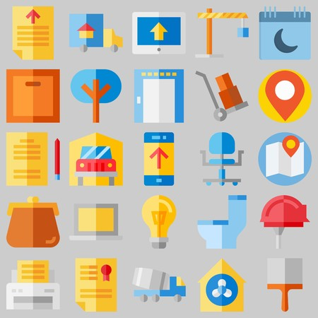 icon set about Real Assets. with purse, studying and tree 向量圖像