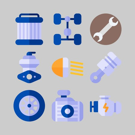 icon set about Car Engine. with wrench, piston and engine Illustration