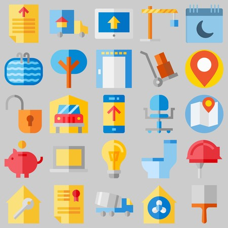 icon set about Real Assets. with security system, lamp and winch Ilustrace