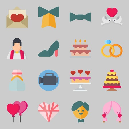 Icons set about Wedding. with high heels, groom and wedding cake