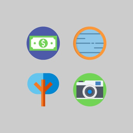 icon set about Travel. with money, tree and photo camera Stockfoto - 103674762