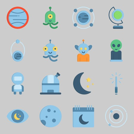 Icons set about Universe. with astronaut, alien and observatory