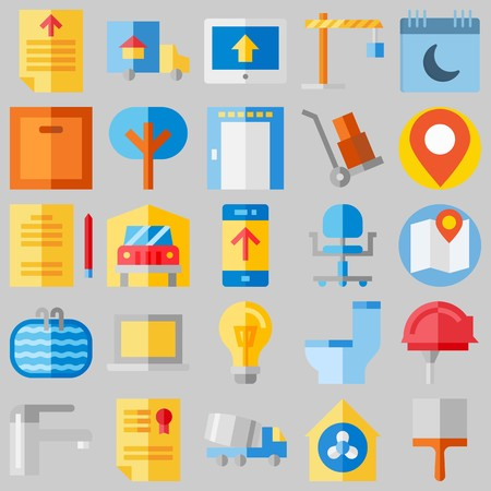 icon set about Real Assets. with calendar, lamp and certificate Banque d'images - 102087443