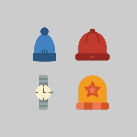 icon set about Man - Clothes. with hat, watch and winter hat Stock Illustratie