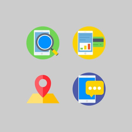 icon set about Romance - Lifestyle. with smartphone, search and location 版權商用圖片 - 102087447