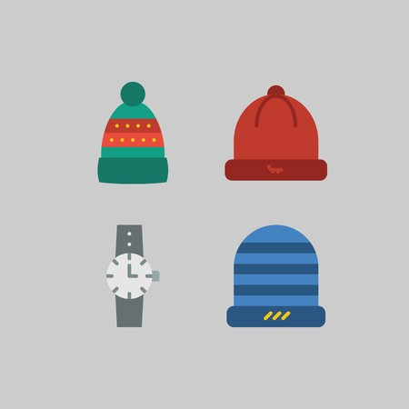 icon set about Man - Clothes. with watch, hat and winter hat Çizim