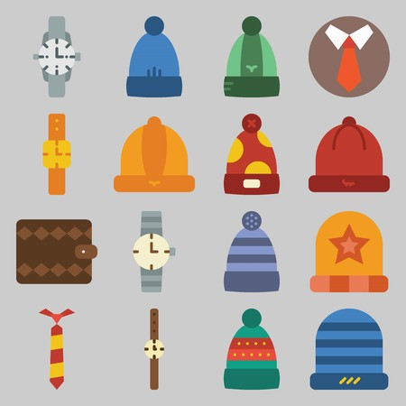 icon set about Man - Clothes. with tie, watch and hat Stock Illustratie