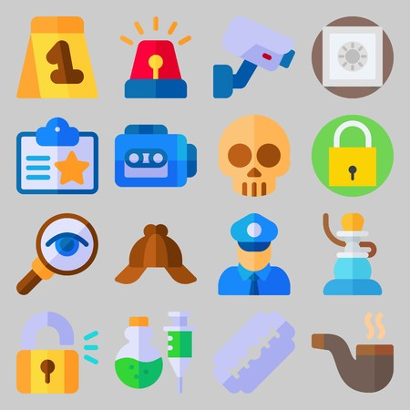 icon set about Crime Investigation. with razor, glass and evidence
