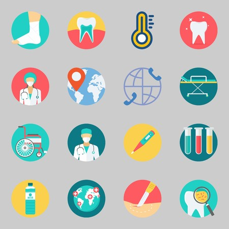 Icons set about Medical. with thermometer, tooth and location Stock Illustratie