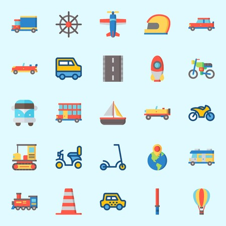 Icons set about Transportation with locomotive, sail boat, taxi, hot air balloon, stick and double decker