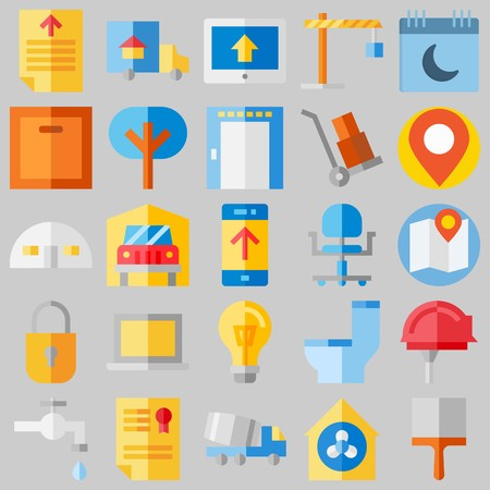 icon set about Real Assets. with lamp, trucks  and placeholder Stock Illustratie