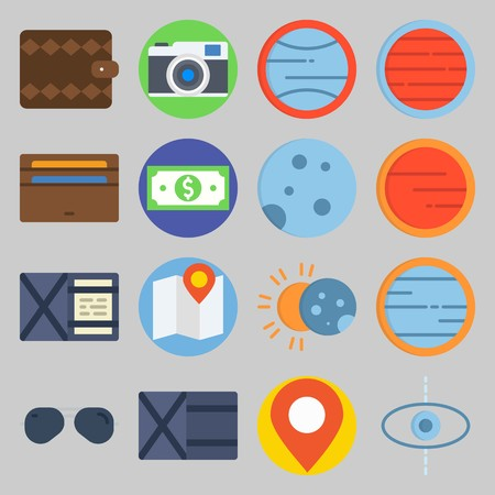 icon set about Travel. with eclipse, wallet and map Stock Illustratie