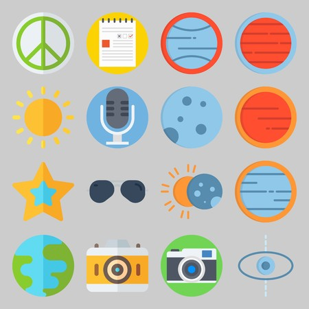 icon set about Hippies. with eclipse, moon  and planet Banque d'images - 102087461