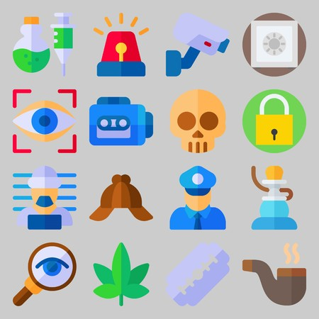icon set about Crime Investigation. with prisoner, cap and marijuana Stock Illustratie