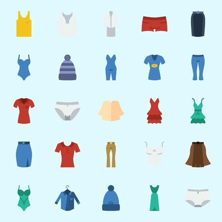 icons set about Women Clothes. with swimsuit, pijamas, tank top, panties, winter hat and skirt