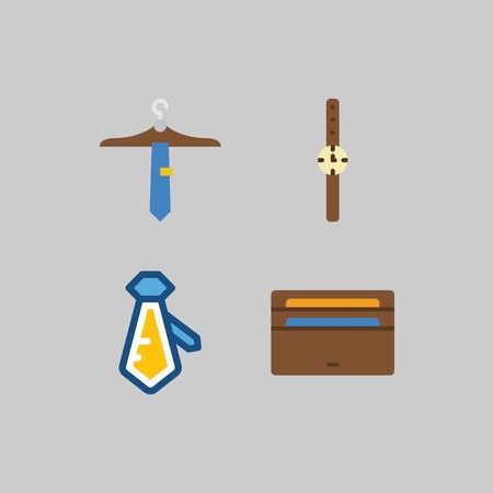 icon set about Man - Clothes. with tie, watch and wallet Stock Illustratie