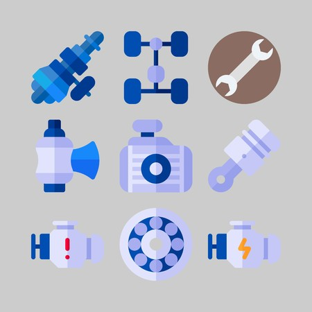 icon set about Car Engine. with wrench, motor and chassis