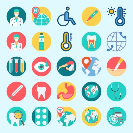 icons set about Medical. with wheelchair, teeth, stethoscope, worldwide, surgery and thermometer