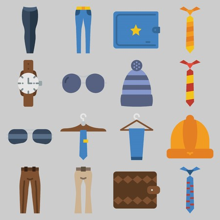 Icon set about Man Accessories with keywords tie, watch, sunglasses, wallet, winter hat and trousers 版權商用圖片 - 102087408