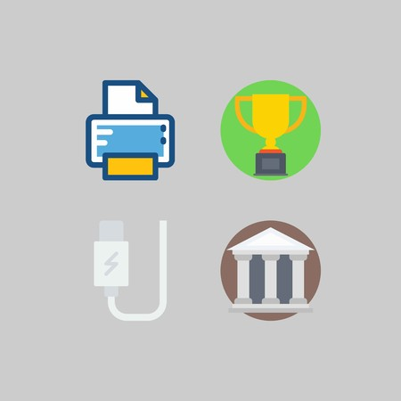 icon set about School And Education. with usb, trophy and printer Çizim