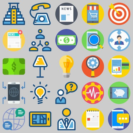 icon set about Marketing. with networking, notification and phone call Stock Illustratie