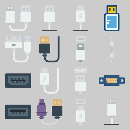 icon set about Connectors Cables. with volume, usb cable and usb