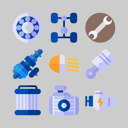 icon set about Car Engine. with car lights, engine and wrench