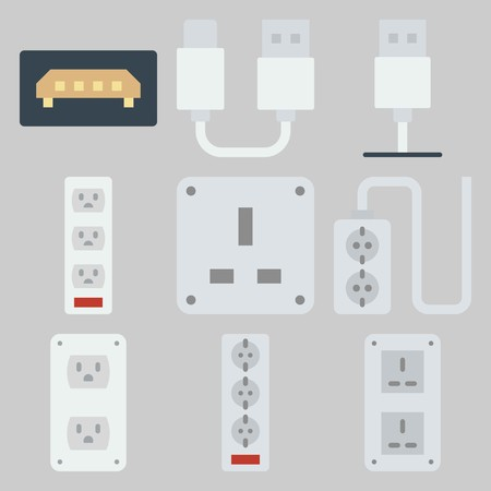 icons set about Connectors Cables . Stock Illustratie