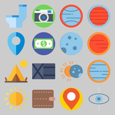 icon set about Travel. with moon , photo camera and money