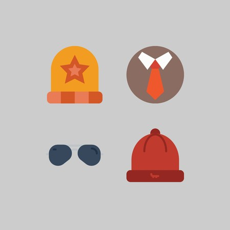icon set about Man - Clothes. with hat, winter hat and tie