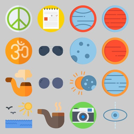 icon set about Hippies. with planet, sea and note